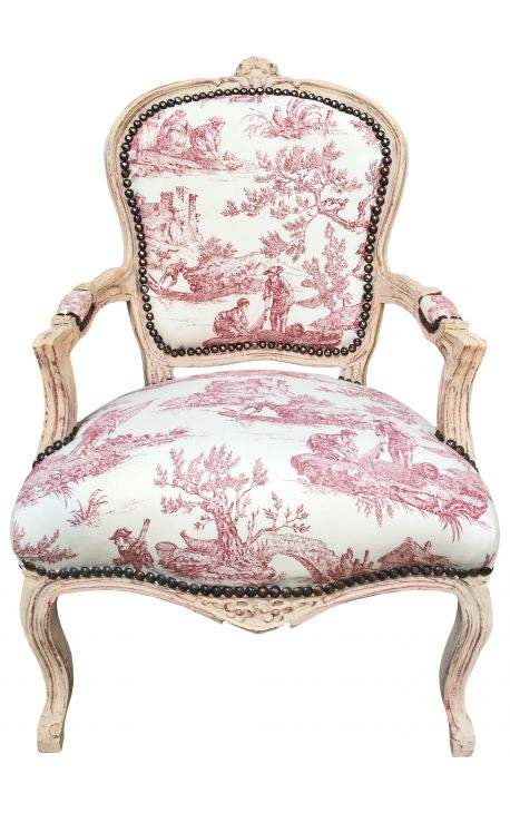Fabulous Limited Edition Armchair Of Louis Xv Style Toile De Jouy And Beige Patinated Wood Caraccident5 Cool Chair Designs And Ideas Caraccident5Info