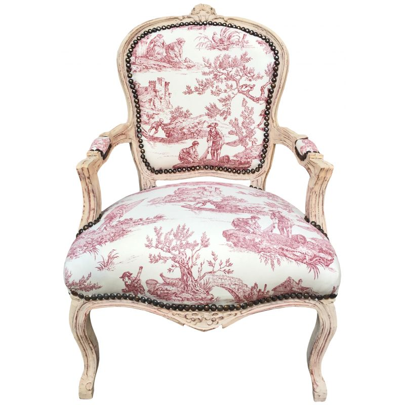 Baroque armchair of louis xv style toile de jouy and beige for Chambre style louis xv