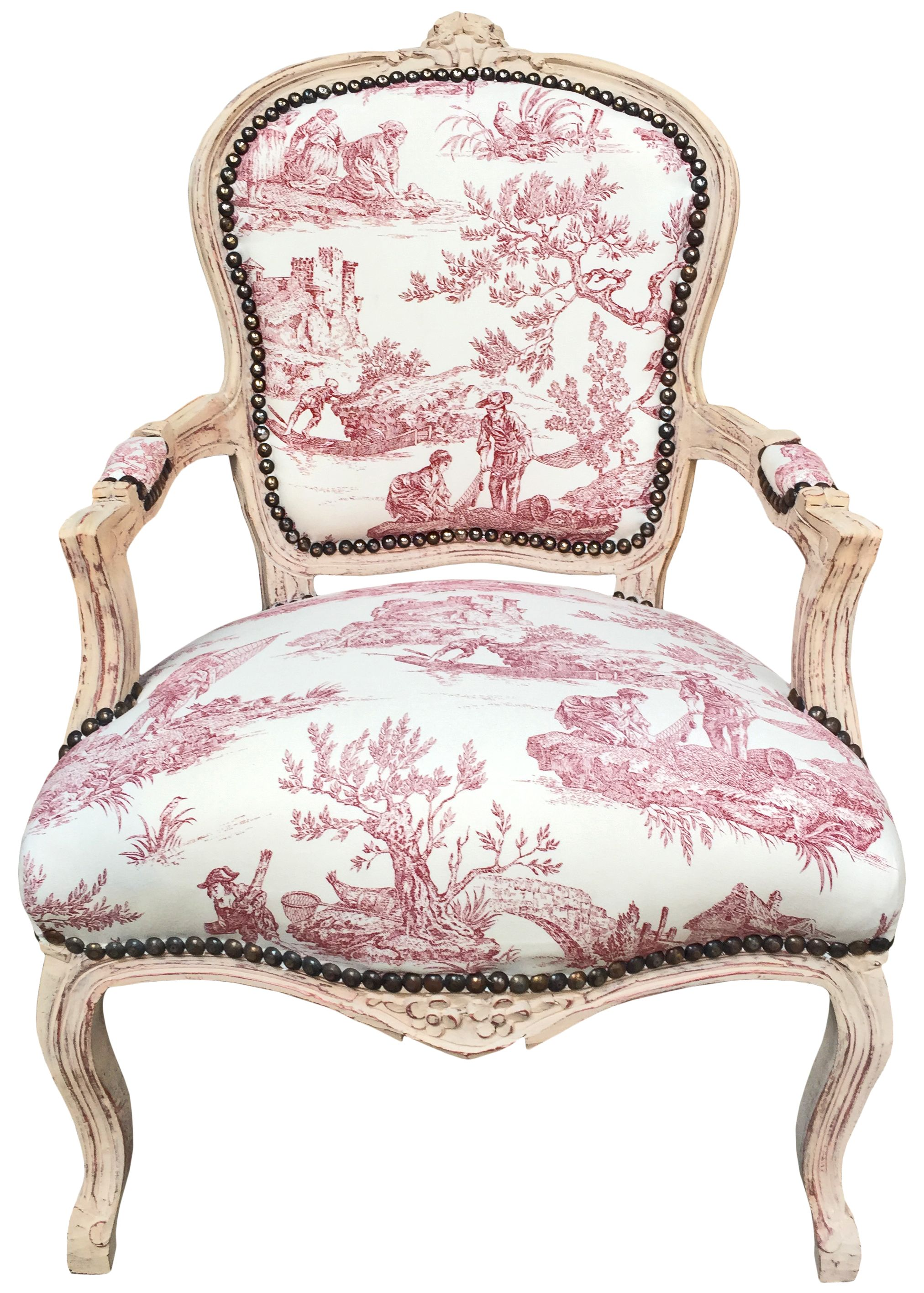 Astonishing Baroque Armchair Of Louis Xv Style Toile De Jouy And Beige Wood Caraccident5 Cool Chair Designs And Ideas Caraccident5Info