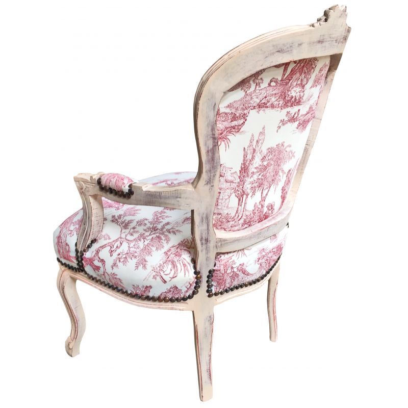 fauteuil de style louis xv tissu toile de jouy et bois beige patin. Black Bedroom Furniture Sets. Home Design Ideas