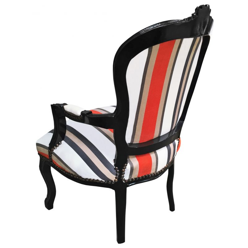 Armchair of Louis XV style orange and grey stripes and ...