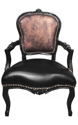 [Limited Edition] Baroque armchair Louis XV style crocodile and black leatherette