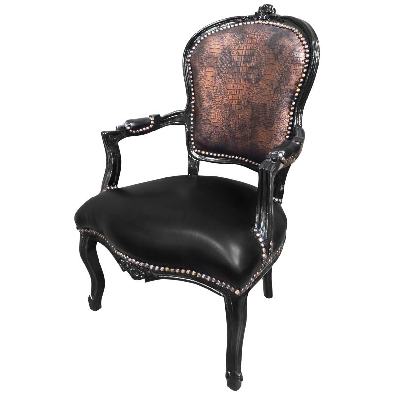 fauteuil baroque de style louis xv simili cuir crocodile et noir. Black Bedroom Furniture Sets. Home Design Ideas
