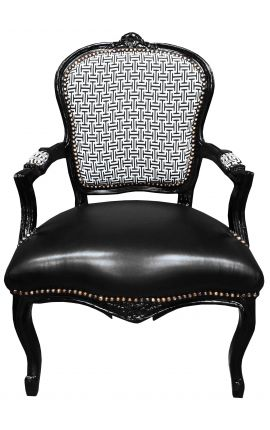 [Limited Edition] Барокко крокодил кресло Louis XV геометрические узоры и искусственную кожу стул, черное дерево