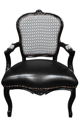 [Edition Limitée] Fauteuil Louis XV de style baroque tissu à motifs geometriques & simili cuir, bois noir