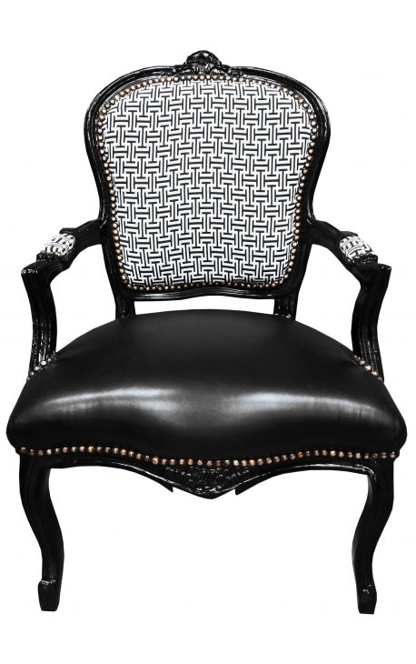 [Limited Edition] Baroque armchair Louis XV geometric patterns & black leatherette, black wood