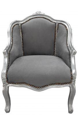 Bergère de style Louis XV tissu velours gris et bois argent