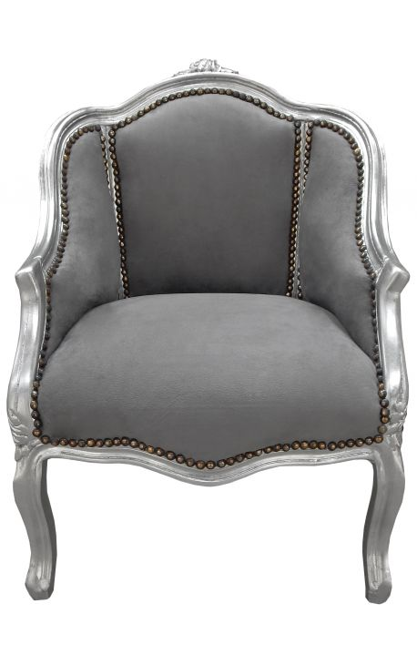 Bergere armchair Louis XV style grey velvet and silver wood