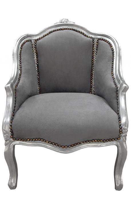Кабриолет кресло Louis XV стиле серый бархат и серебро дерево