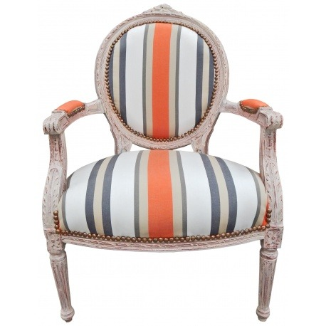 Armchair of louis xvi style orange stripes and beige wood patinated