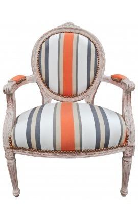 [Edition Limitée] Fauteuil de style Louis XVI tissu rayé orange et bois beige patiné