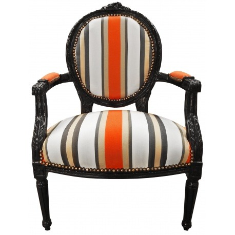 Armchair of louis xvi style orange and grey stripes and black wood