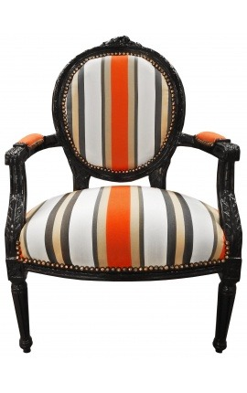 [Limited Edition] Baroque armchair of Louis XVI style orange stripes and black wood