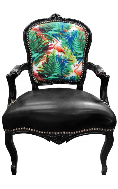 [Limited Edition] Baroque armchair Louis XV printed flamingo & leatherette, black wood