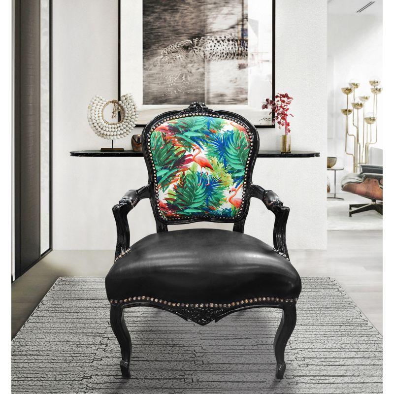 fauteuil baroque de style louis xv tissu flamants roses et. Black Bedroom Furniture Sets. Home Design Ideas