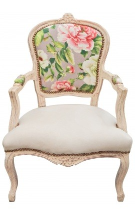 [Limited Edition] Armchair of Louis XV style printed roses and beige wood patinated
