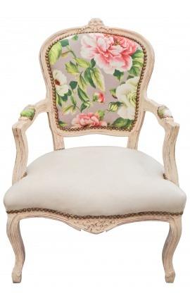 [Edition Limitée] Fauteuil de style Louis XV tissu imprimé avec roses et bois beige patiné