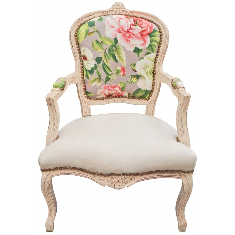 fauteuil de style louis xv tissu imprim avec roses bois. Black Bedroom Furniture Sets. Home Design Ideas