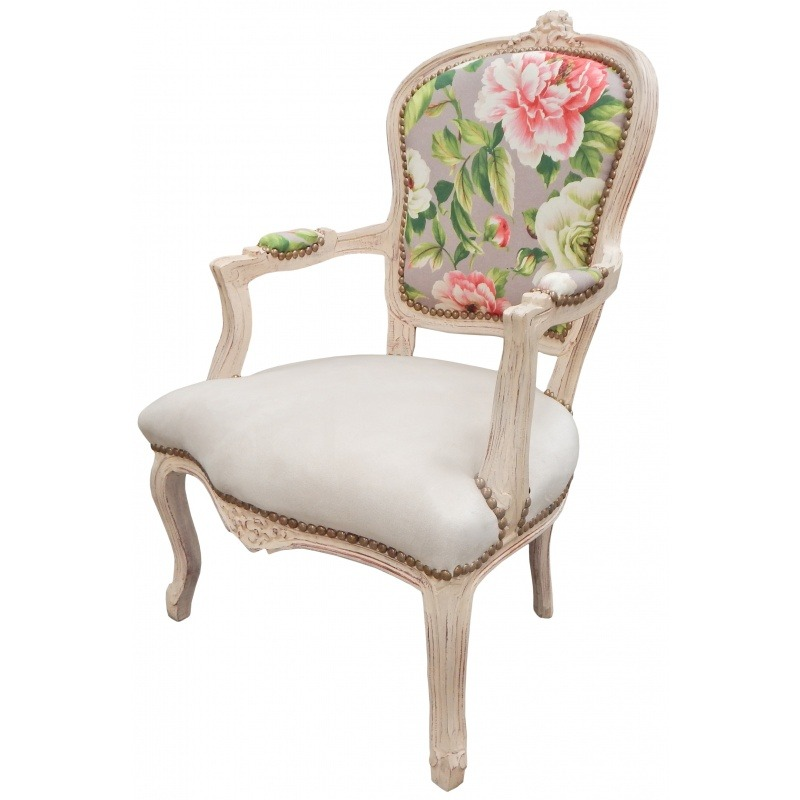 fauteuil de style louis xv tissu imprim avec roses bois beige patin. Black Bedroom Furniture Sets. Home Design Ideas
