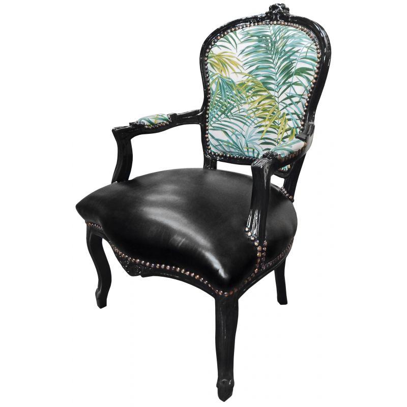 fauteuil baroque de style louis xv tissu avec feuillage et. Black Bedroom Furniture Sets. Home Design Ideas