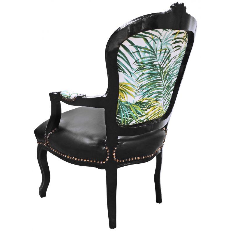 fauteuil baroque de style louis xv tissu avec feuillage et bois noir. Black Bedroom Furniture Sets. Home Design Ideas