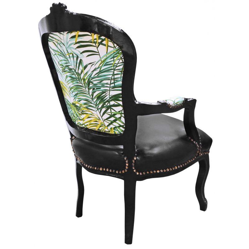 Fauteuil baroque de style louis xv tissu avec feuillage et - Fauteuil de table simili cuir ...