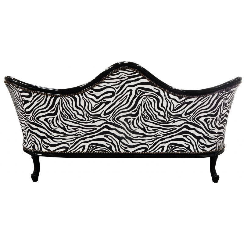 Canap baroque napol on iii tissu zebre simili cuir noir for Canape zebre