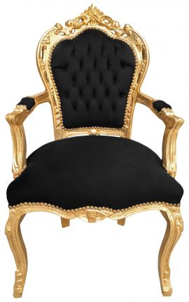 armchair Baroque Rococo style black velvet and gold wood