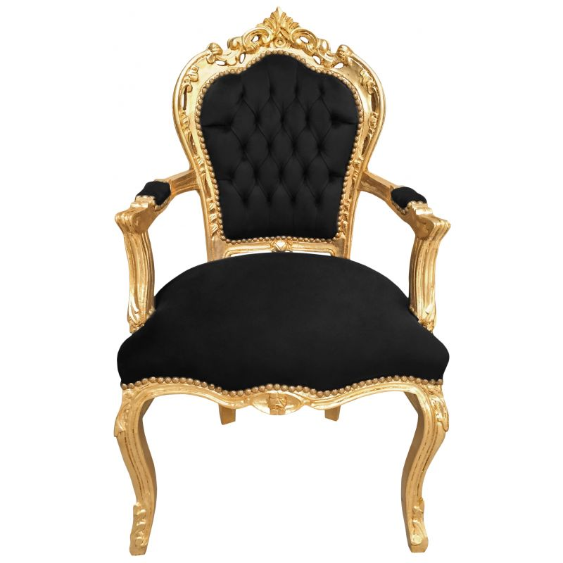 Baroque rococo style armchair black velvet and gold wood