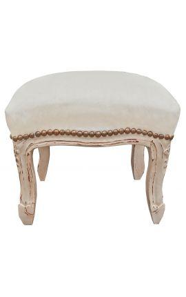 Repose-pied de style Louis XV tissu velours beige et bois beige patiné