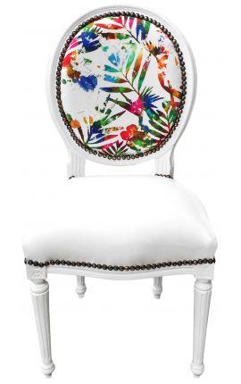 [Edition Limitee] Chaise de style Louis XVI tissu feuillage multicolore, simili cuir blanc laqué blanc
