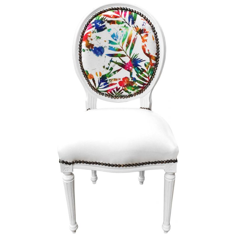 Chaise style louis xvi for Chaise cuir blanc