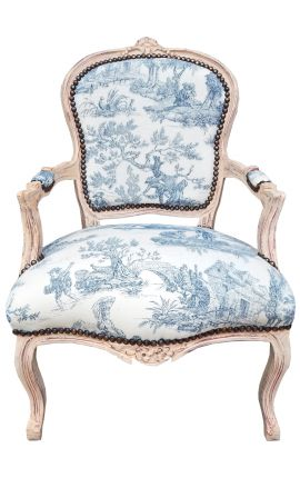 [Limited Edition] Armchair of Louis XV style toile de Jouy blue & beige patinated wood