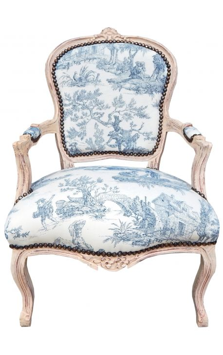[Limited Edition] Armchair of Louis XV style toile de Jouy blue & beige wood patinated