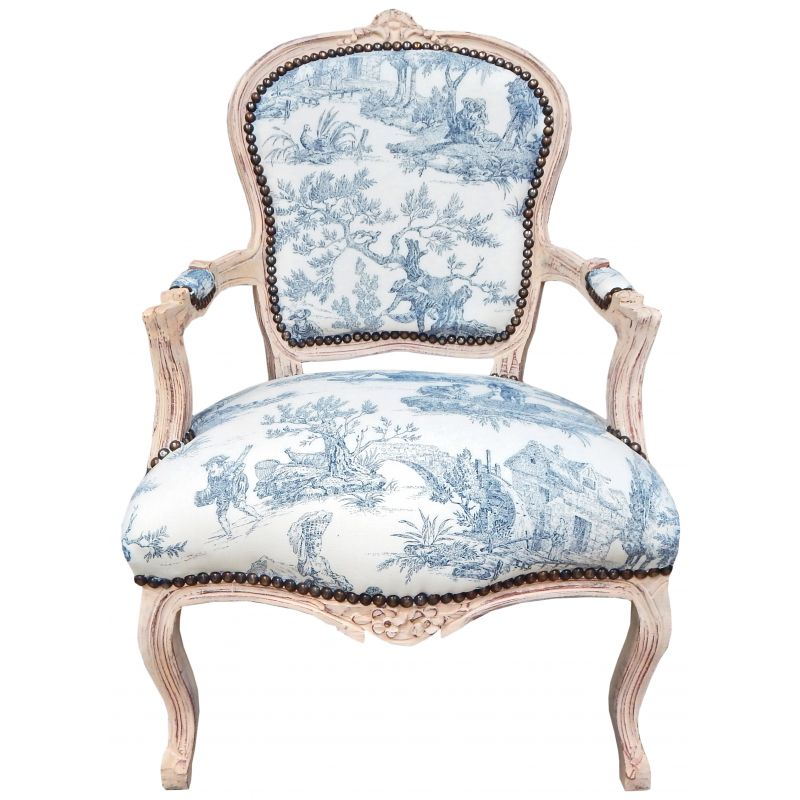 fauteuil de style louis xv tissu toile de jouy bleu et. Black Bedroom Furniture Sets. Home Design Ideas