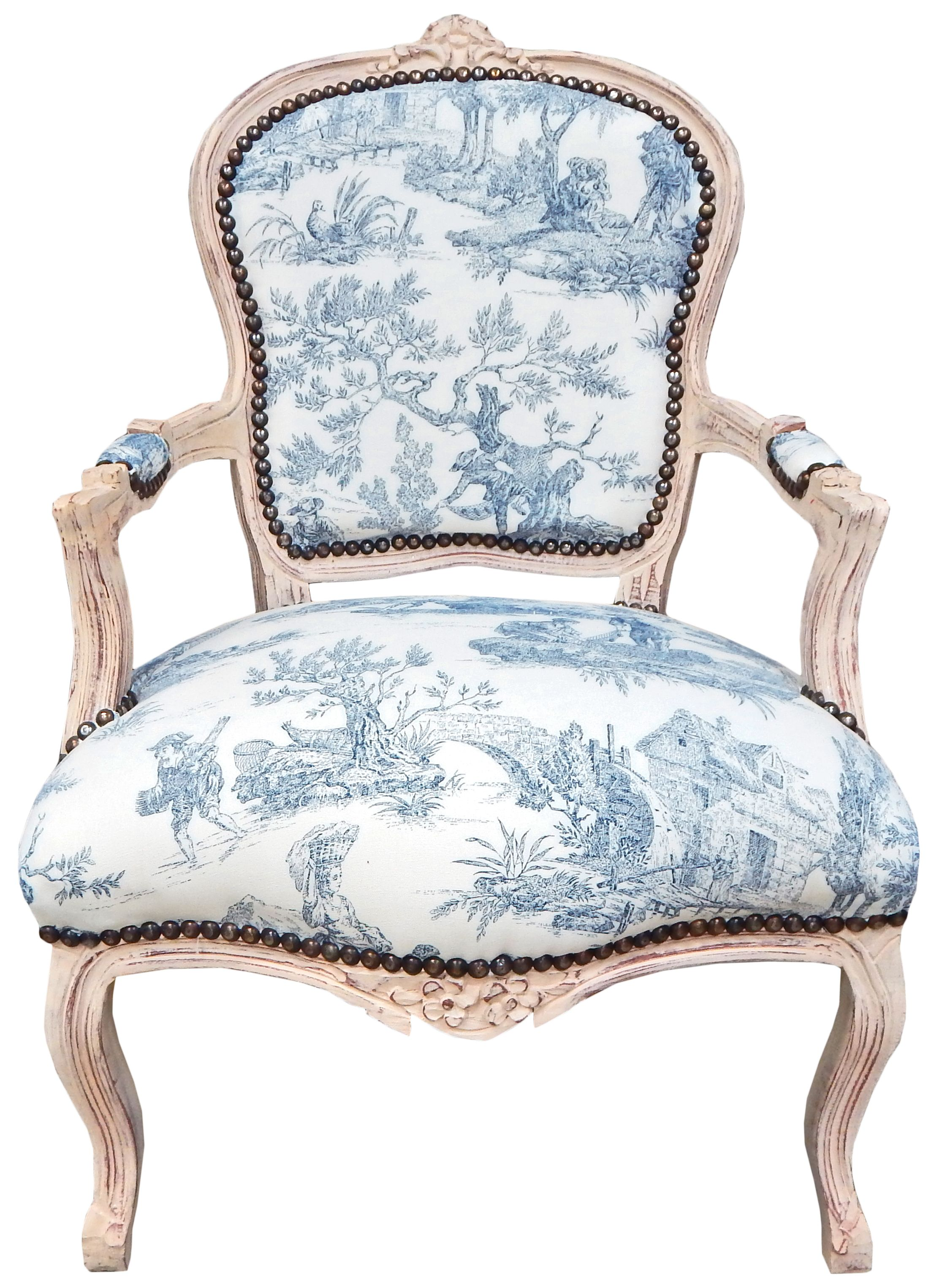 Fantastic Baroque Armchair Of Louis Xv Style Blue Toile De Jouy And Caraccident5 Cool Chair Designs And Ideas Caraccident5Info