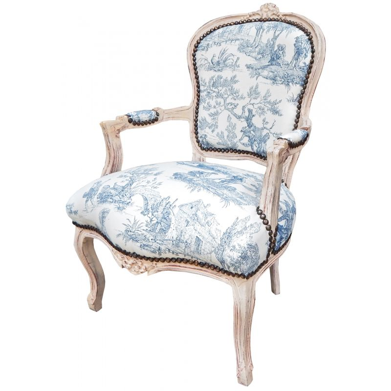 Baroque Armchair Of Louis Xv Style Blue Toile De Jouy And