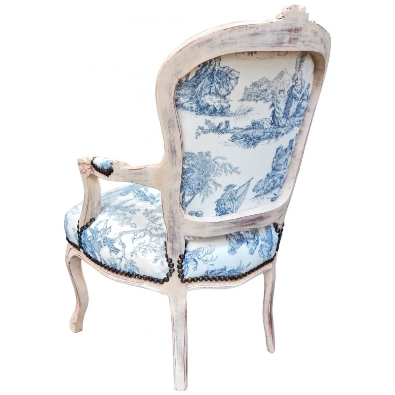 baroque armchair of louis xv style blue toile de jouy and. Black Bedroom Furniture Sets. Home Design Ideas