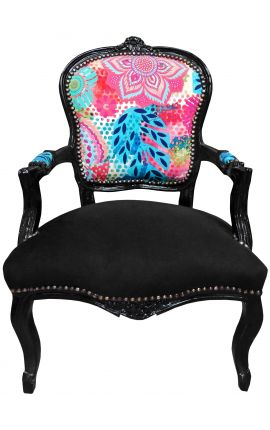 [Limited Edition] Baroque armchair Louis XV printed multicolor flowers, black wood