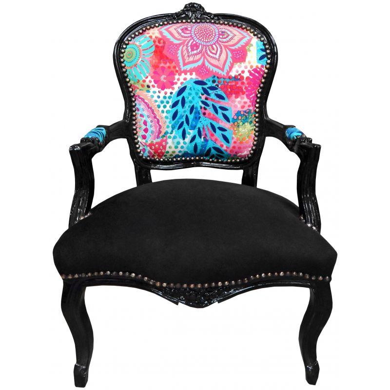 Fauteuil baroque de style louis xv fleurs multicolores et Differents styles de meubles