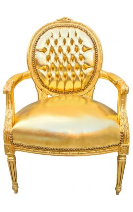 Baroque armchair Louis XVI style medallion in false gold skin leather and gold wood.