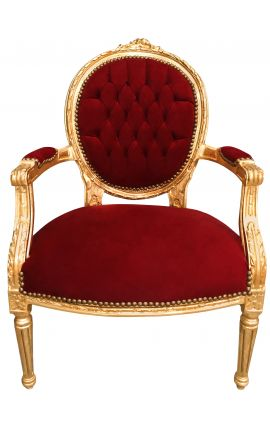 Baroque armchair Louis XVI style Burgundy velvet and gold wood
