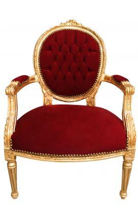 Fauteuil Louis XVI de style baroque velours bordeaux et bois doré