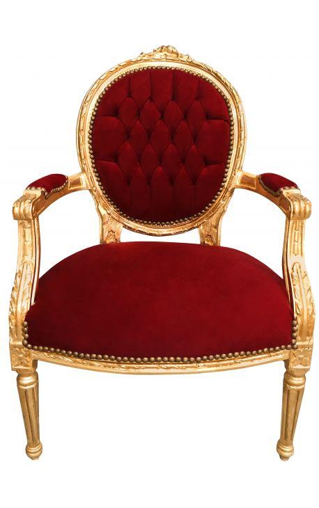 Fauteuil baroque de style Louis XVI velours bordeaux et bois doré