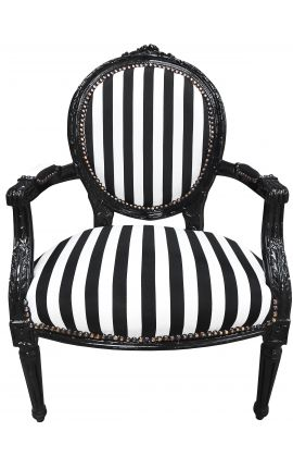 Baroque armchair Louis XVI black and white striped and black wood