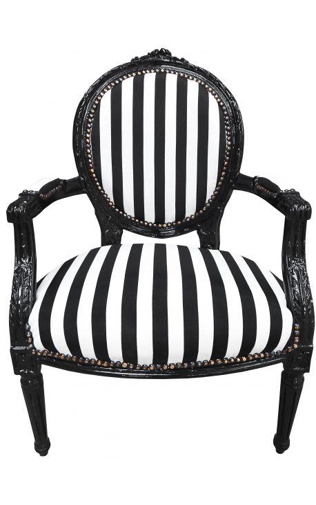 Fauteuil baroque de style Louis XVI rayé noir et blanc et bois noir