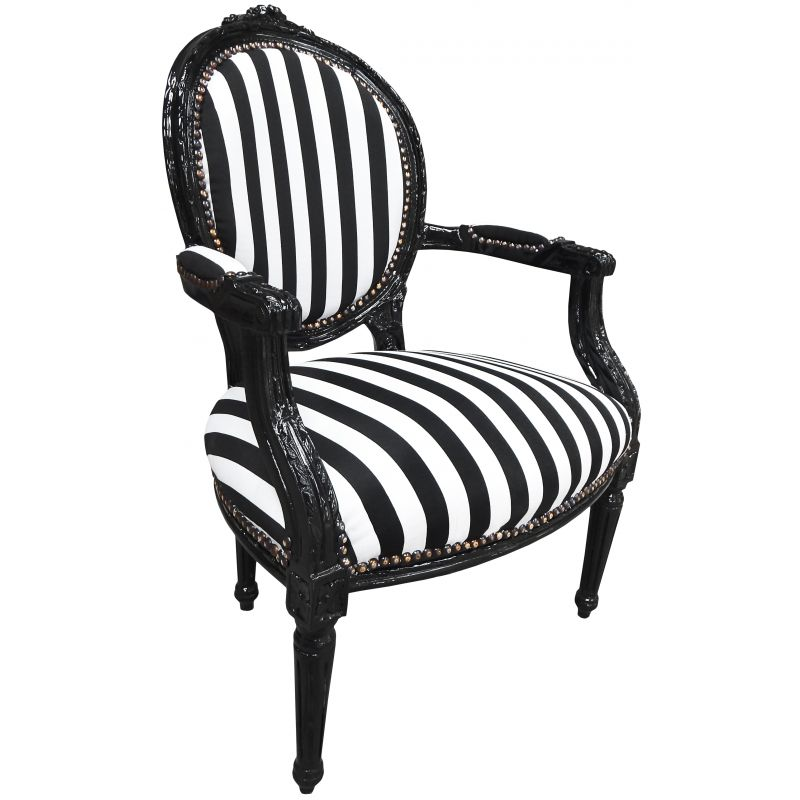 fauteuil baroque de style louis xvi ray noir et blanc et bois noir. Black Bedroom Furniture Sets. Home Design Ideas