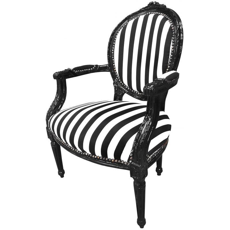 baroque armchair louis xvi black and white striped and black wood - Black And White Striped Chair