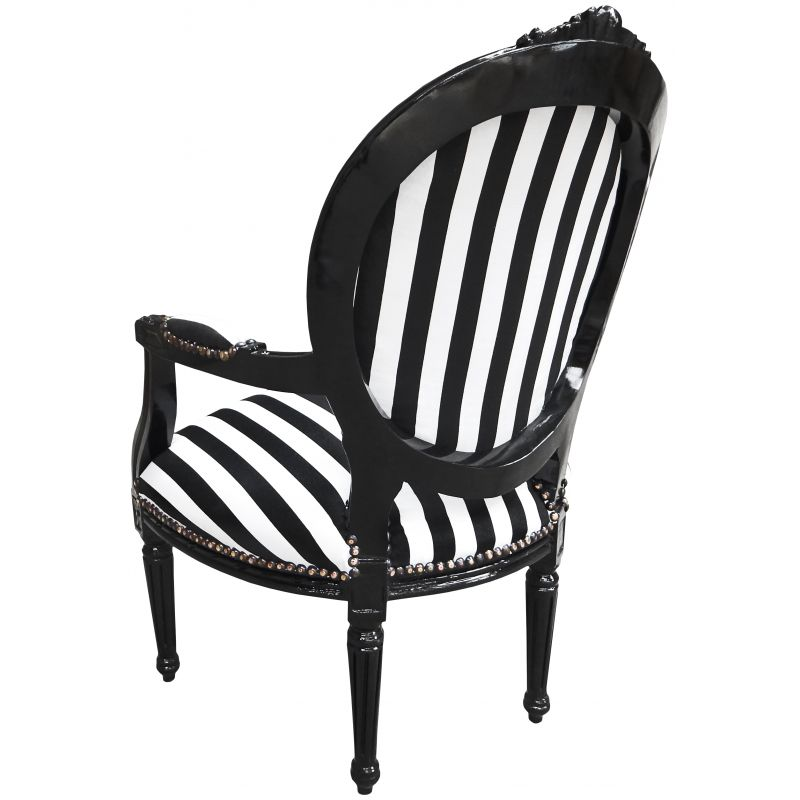 Baroque armchair Louis XVI black and white fabric and ...