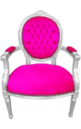 Baroque armchair Louis XVI style rose fuchsia velvet and silvered wood